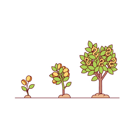 cash crop: Growing money tree. Green cash and coins sprouts rising from good fertilised soil. Modern flat style thin line vector illustration isolated on white background.