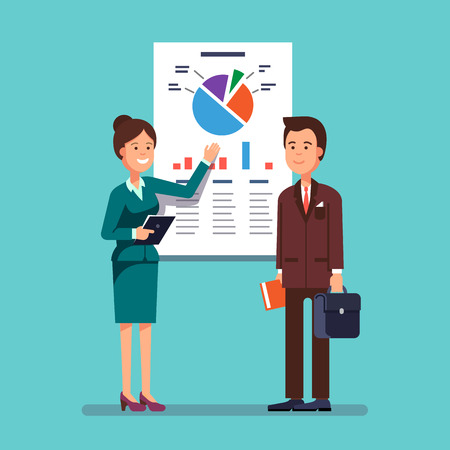 analytical: Business woman and mentor giving a presentation speech showing marketing and sales data to a man. Modern flat style concept vector illustration isolated on white background.