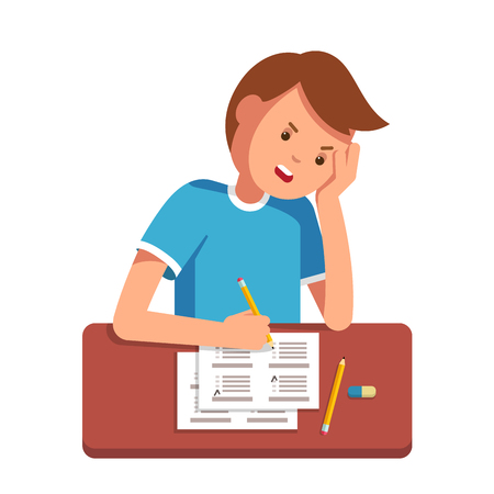 undergraduate: Stressed school student filling out answers to exam test answer sheet with pencil sitting at a classroom desk. Not knowing answers. Modern flat style vector illustration isolated on white background. Illustration
