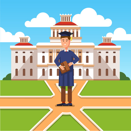 undergraduate: Young graduated bachelor standing in front of his university and making decision about his future career. Modern flat style concept vector illustration isolated on white background. Illustration