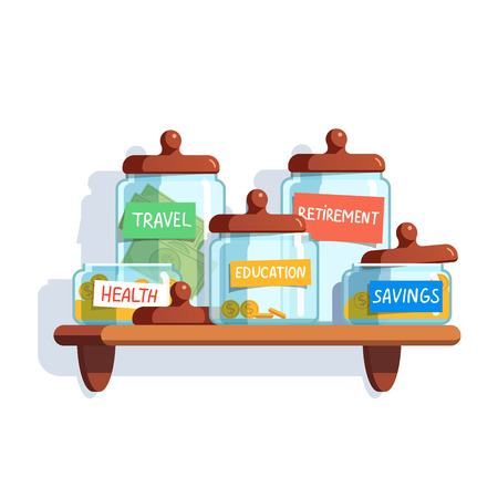 monies: Coins and money in glass jars with labeled savings standing on the shelf. Modern flat style concept vector illustration isolated on white background.