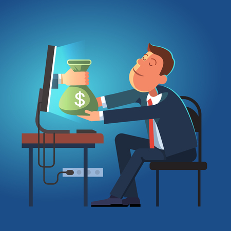 money sack: Hand giving money sack from a computer to young business man sitting at his office desk. Modern flat style concept vector illustration isolated on dark blue background.