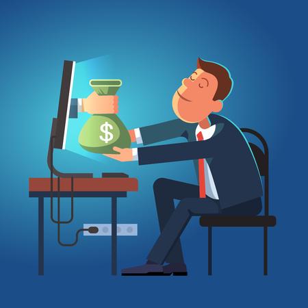 Mano que da el saco de dinero desde un ordenador al hombre de negocios joven sentado en su escritorio de oficina. Concepto de la ilustración del vector del estilo moderno plano aislado en el fondo azul oscuro. Ilustración de vector