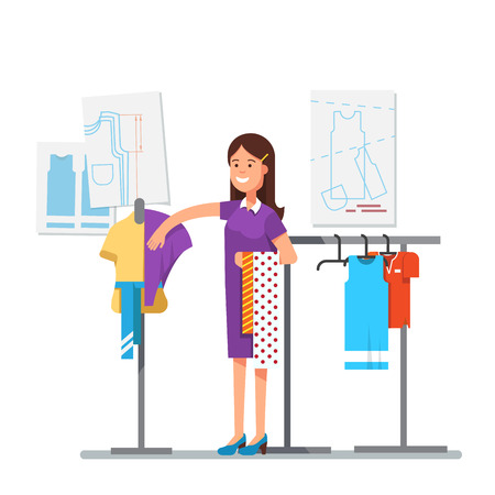 couturier: Fashion clothes designer working on dress project trying different fabric to create a new style with sewing patterns in background. Master tailor. Modern flat style vector isolated illustration.
