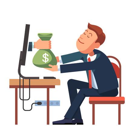 Hand geven geld zak van een computer naar jonge zakenman zitten op zijn kantoor bureau. Modern flat style concept vector illustratie geïsoleerd op een witte achtergrond.