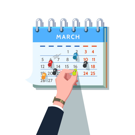 Business man hand sticking push pin into month calendar schedule marking upcoming appointment. Modern flat style concept vector illustration isolated on white background.