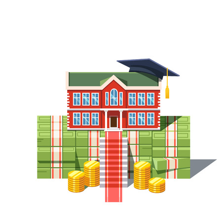 University graduation costs concept. College building with student cap standing on a huge pile of debt cash money and coins. Modern flat style vector illustration isolated on white background. Illustration