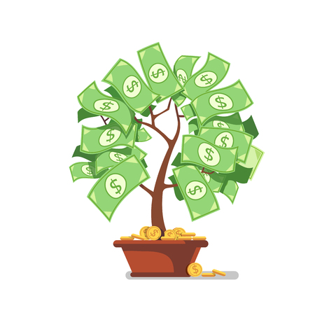 incubation: Growing money tree. Green cash banknotes and coins sprouts rising from ceramic pot. Modern flat style concept vector illustration isolated on white background.