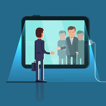 Bedrijfsmens die door het glas bereiken om handen met groep partners op conferentie videovraag via reusachtige tabletcomputer te schudden. Vlakke stijl concept vectorillustratie geïsoleerd op donkere achtergrond.