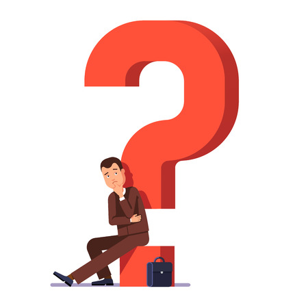 young business man: Young business man thinking and asking himself about next job or project. Career choosing concept. Modern flat style vector illustration isolated on white background.