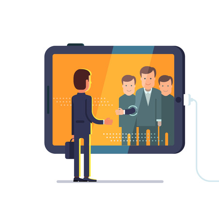 video call: Business man reaching through the glass to shake hands with group of partners on conference video call via huge tablet computer. Flat style concept vector illustration isolated on white background.