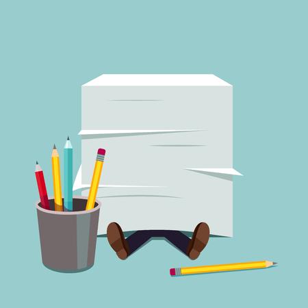 Biznes cz? Owiek pochowany pod ogromnym stos papieru dokumentów. Metaphor ciśnienia stresu papierkowej. Nowoczesne mieszkanie stylu ilustracji wektorowych.