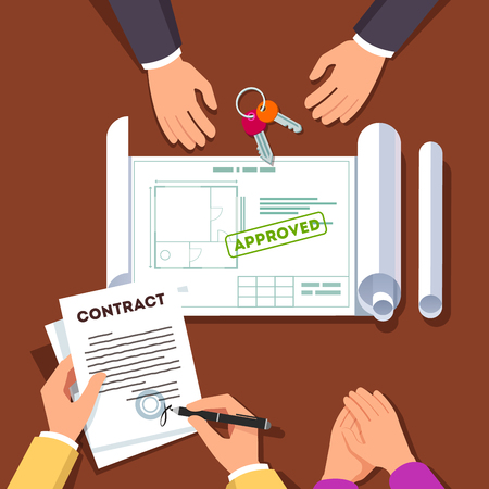 modern apartment: Hands signing house or apartment renovation contract. Real estate agent giving key chain and showing approved floor plan. Top view modern flat style vector illustration. Illustration