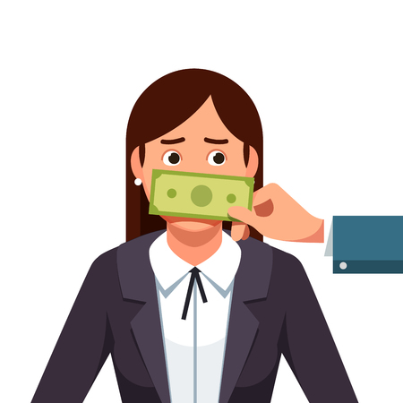 Hand with cash money banknote covering politician or business woman mouth buying silence telling to shut up. Lobbyist corruption concept. Flat style vector illustration isolated on white background.