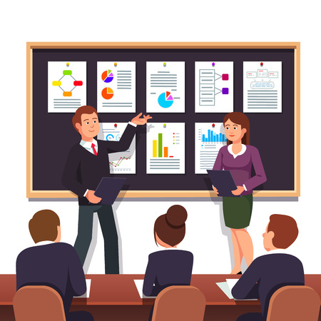 project plan: Young entrepreneurs presenting their new start up business project plan to investors for evaluation seeking investment. Modern flat style vector illustration isolated on white background.