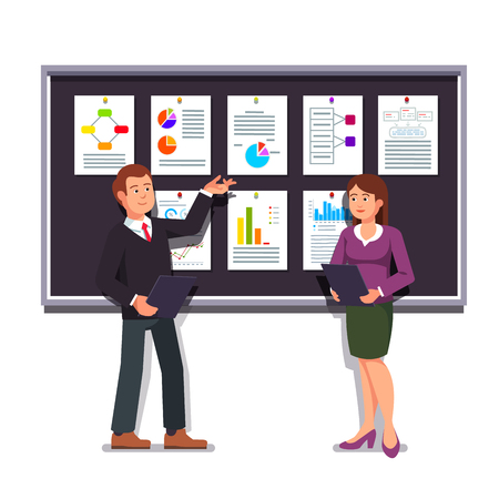project plan: Young entrepreneurs man and woman showing startup business project plan presentation on a black display board. Modern flat style vector illustration isolated on white background. Illustration