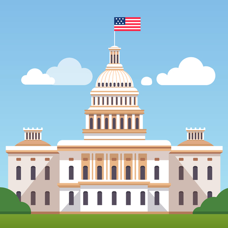 White House building with US flag on a blue sky with clouds background. Washington DC president residence. Modern flat style vector illustration.