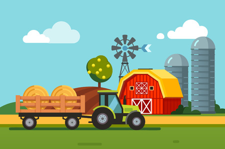 farmstead: Farm meadow scenery barn, grain silos, wind generator and tractor towing hey bales loaded to a trailer. Modern flat style vector illustration.