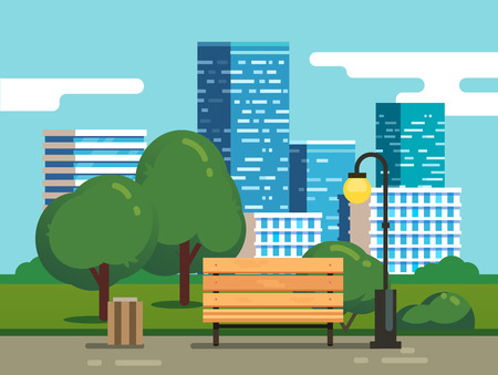 City park with bench with downtown skyscrapers in the background. Modern flat style vector illustration. Stock Illustratie