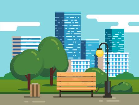 landschap: Stadspark met bankje met wolkenkrabbers op de achtergrond. Moderne vlakke stijl vector illustratie.