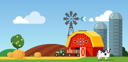 tillage: Granja campo de cultivo y el paisaje prado, vaca de pie cerca de granero, silos de grano, generador de viento y tractor con remolque. ilustración vectorial de estilo moderno plano. Vectores