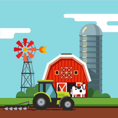 Farm scenery barn, grain silo, and tractor working on a arable field with attached plough. Modern flat style vector illustration.