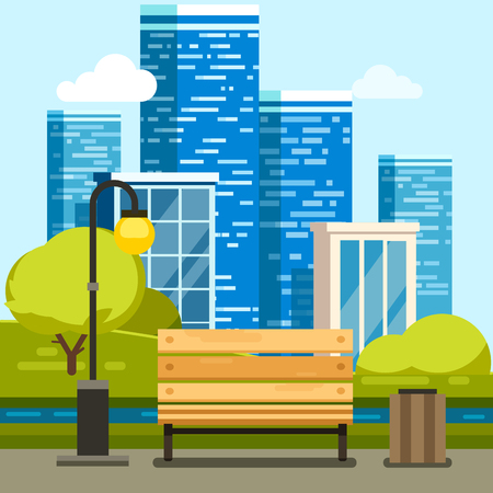 suburb: City park with bench with downtown skyscrapers in the background. Modern flat style vector illustration. Illustration