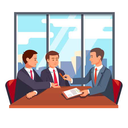 Business man or lawyer giving a pen and paper contract for signing to his future partners. Partnership deal and closing negotiations. Flat style vector illustration isolated on white background.