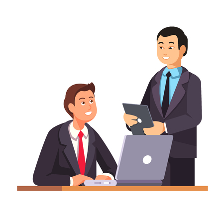 Asian HR manager with a tablet pc welcomes new employee at his working desk with a laptop computer. Modern flat style vector illustration isolated on white background.