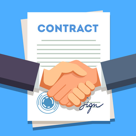 signed: Business man firmly shaking hands over a signed contract with stamp. Modern flat style vector illustration.