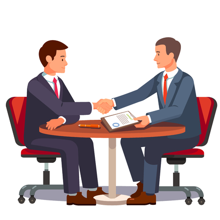 business contract: Businessman shaking hands on a signed contract. Business handshake over a round negotiations table. Modern flat style vector illustration isolated on white background. Illustration