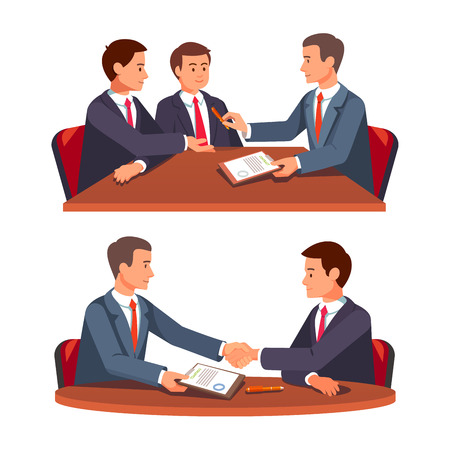 signing contract: Businessman shaking hands over a round negotiations tables. Future business partners signing contract. Business handshake. Modern flat style vector illustration isolated on white background.