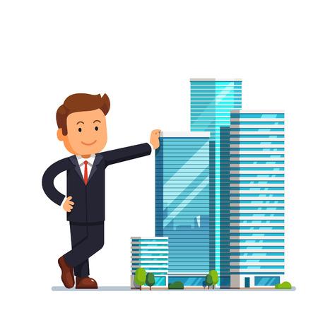 Vastgoedontwikkelaar ondernemer concept. Business man eigenaar van wolkenkrabber gebouwen eigendom staand en leunend voor hen. Moderne vlakke stijl vector illustratie op een witte achtergrond.