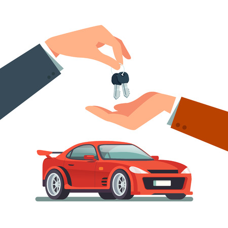 Buying or renting a new or used red and speedy sports car. Dealer giving keys chain to a buyer hand. Modern flat style vector illustration isolated on white background. Stock Vector - 67654470