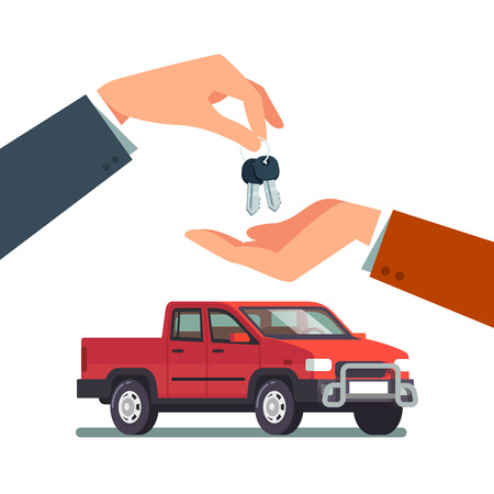 buying: Buying or renting a new or used pickup truck. Car dealer giving keychain to a buyer hand. Modern flat style vector illustration isolated on white background.