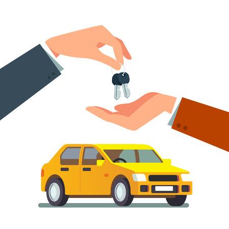 Comprar o alquilar un auto sedán familiar nuevo o usado. Distribuidor dando cadena de llaves a una mano de comprador. Ilustración de vector de estilo plano moderno aislado sobre fondo blanco.
