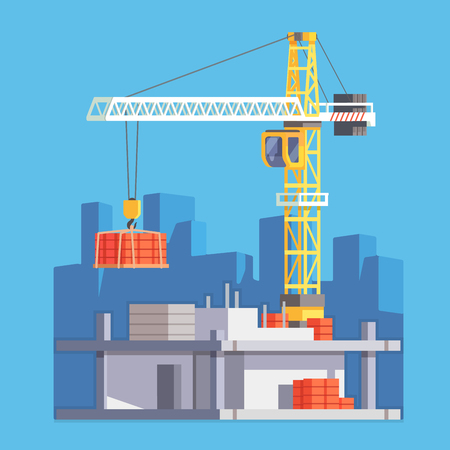 Construction of multistory building house or a skyscraper with tower crane lifting concrete slab and materials. Modern flat style vector illustration. Illustration