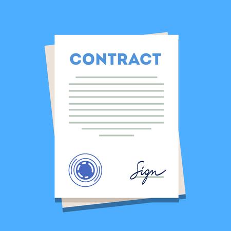 Signiert und Vertrags Papier Symbol gestempelt. Moderne Flach Stil Vektor-Illustration auf einem blauen Hintergrund.