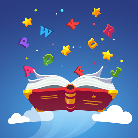 scholarship: Magical book flying scattering alphabet letters. Opened primer. Magic of learning to read with ABC concept. Modern flat style vector illustration. Illustration