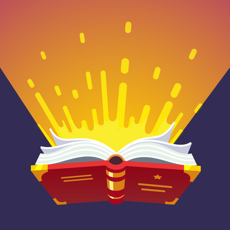 spells: Opened glowing magical book of sacred wizard secret spells. Modern flat style vector illustration.