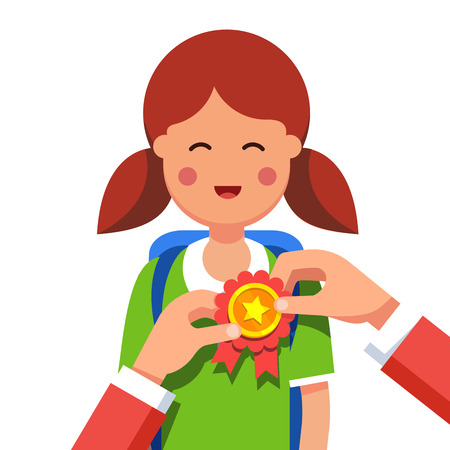 Student girl being awarded for a win at school fair. Hands pinning winner ribbon award to a kids chest. Flat style modern vector illustration isolated on white background. Illustration