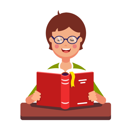 student book: Young boy student wearing glasses reading a book out loud holding it in her hands and sitting at the desk. Flat style modern vector illustration isolated on white background.