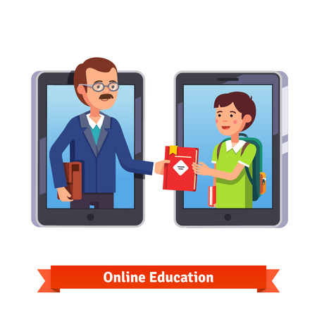 Online education concept. Student and teacher talking via video call with tablets or smartphone. Professor giving a book to a pupil on internet. Flat style vector illustration isolated on white. Vettoriali