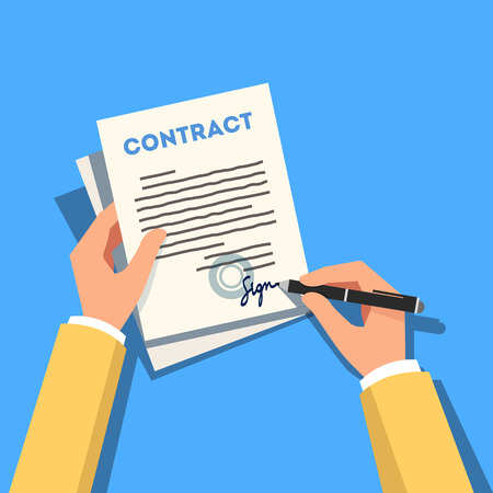 signing: Hands holding and signing business contract paper with a pen. Modern flat style vector illustration isolated on blue background.