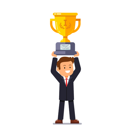 winner man: Business leader man standing and holding winner golden cup over head with his hands. Entrepreneur achievement concept. Flat style vector illustration.