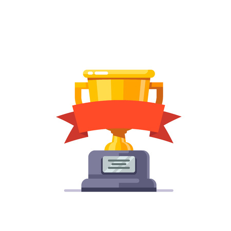 Shining golden cup award prize with red ribbon and stone pedestal. Modern flat style vector illustration isolated on white background.