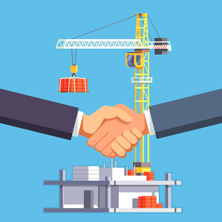 multistory: Developer and buyer shaking hands on a deal of construction of multistory building house or a skyscraper. Modern flat style vector illustration.