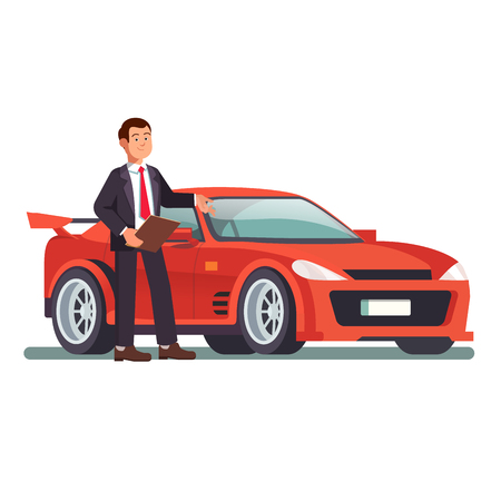 Car dealer showing a new red sports car with a hand gesture while holding a paper clip. Modern flat style vector illustration isolated on white background. Stock Illustratie