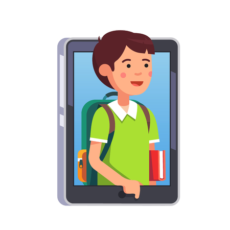 boy kid: School boy sticking out of smartphone screen or tablet computer. Kid video call concept. Modern flat style vector illustration isolated on white background. Illustration