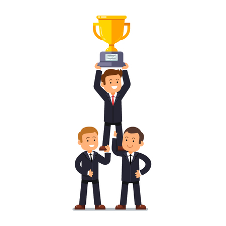 Team of businessman supporting their business leader standing on their strong shoulders holding winner golden cup. Leadership and teamwork achievement concept. Flat style vector illustration.